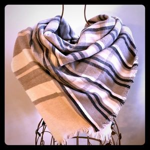 J.Crew Brown Plaid Wool Square Scarf Made in Italy